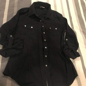 Guess Black Long Sleeve Button Up Size  XS
